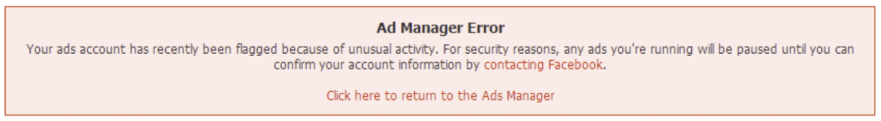 ads manager error